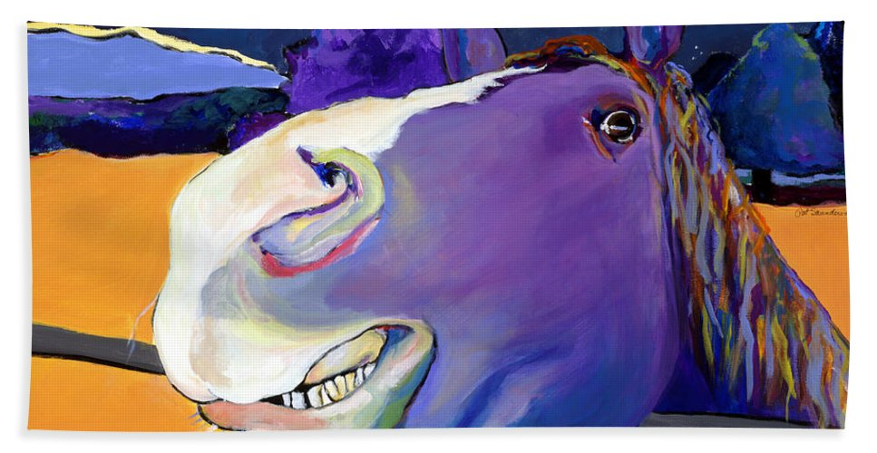 Barnyard Animal Bath Sheet featuring the painting Got Oats   by Pat Saunders-White