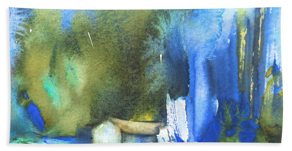 Watercolour Hand Towel featuring the painting Got The Blues by Miki De Goodaboom
