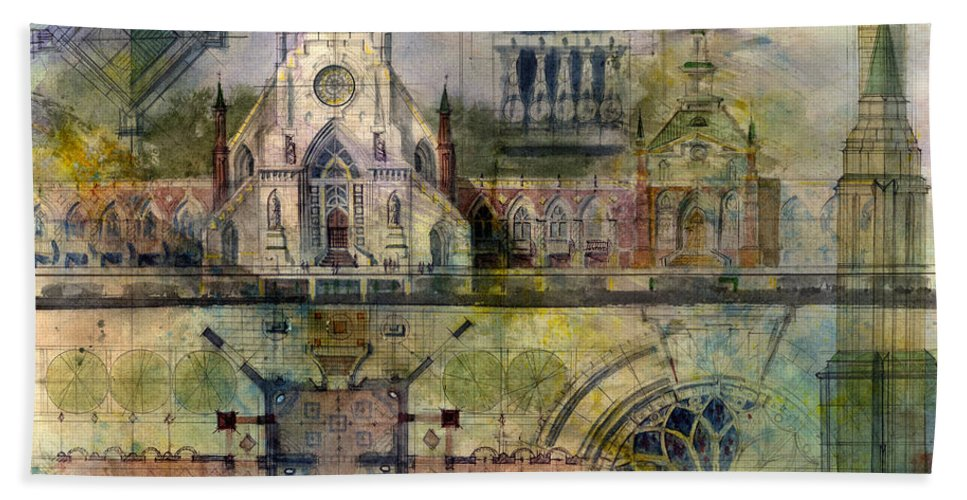 Gothic Bath Towel featuring the painting Gothic by Andrew King