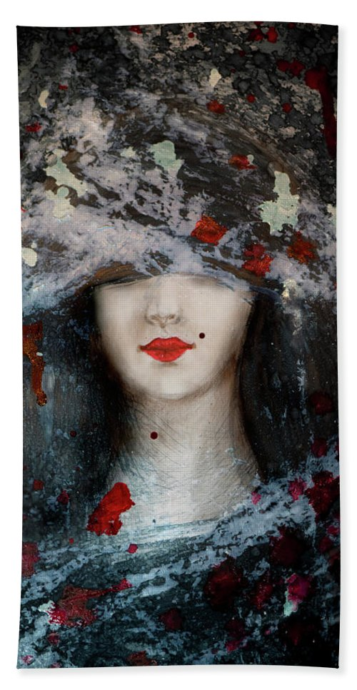 Gothic Beauty Hand Towel featuring the painting Gothic Beauty by Lilia D