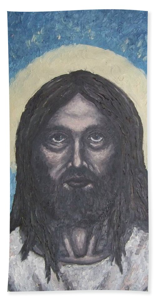 Michael Hand Towel featuring the painting Gothic Jesus by Michael TMAD Finney