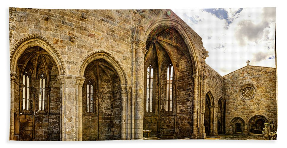 Gothic Bath Sheet featuring the photograph Gothic Temple Ruins - San Domingos by Weston Westmoreland