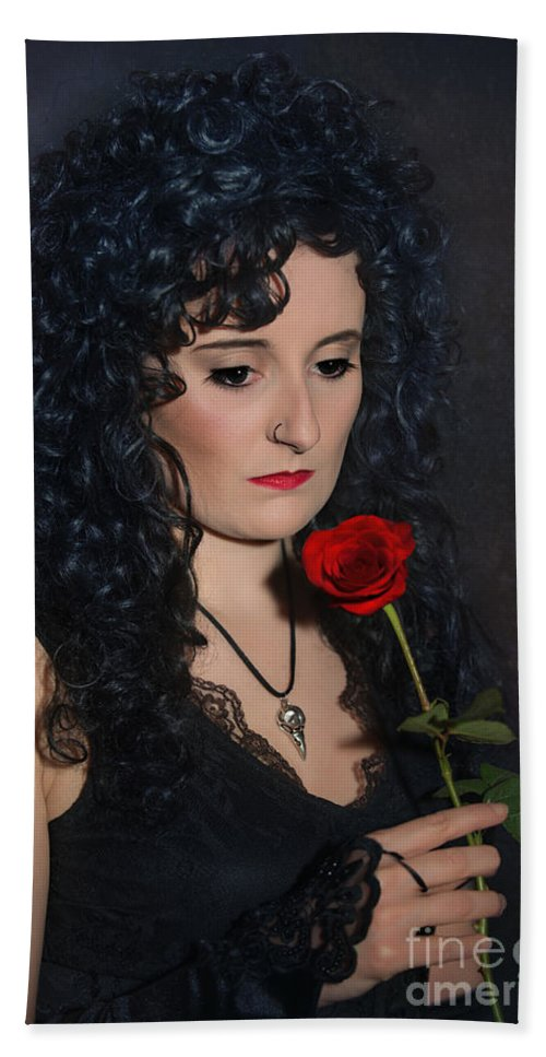 Woman Hand Towel featuring the photograph Gothic Woman With Rose by Amanda Elwell