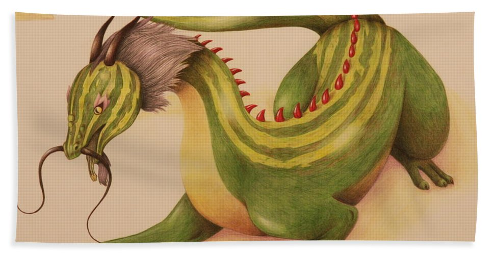 Dragon Bath Sheet featuring the drawing Gourd Dragon by Michelle Miron-Rebbe