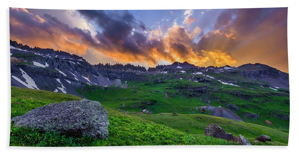 Landscape Bath Sheet featuring the photograph Governor's Basin Sunset by Wick Smith