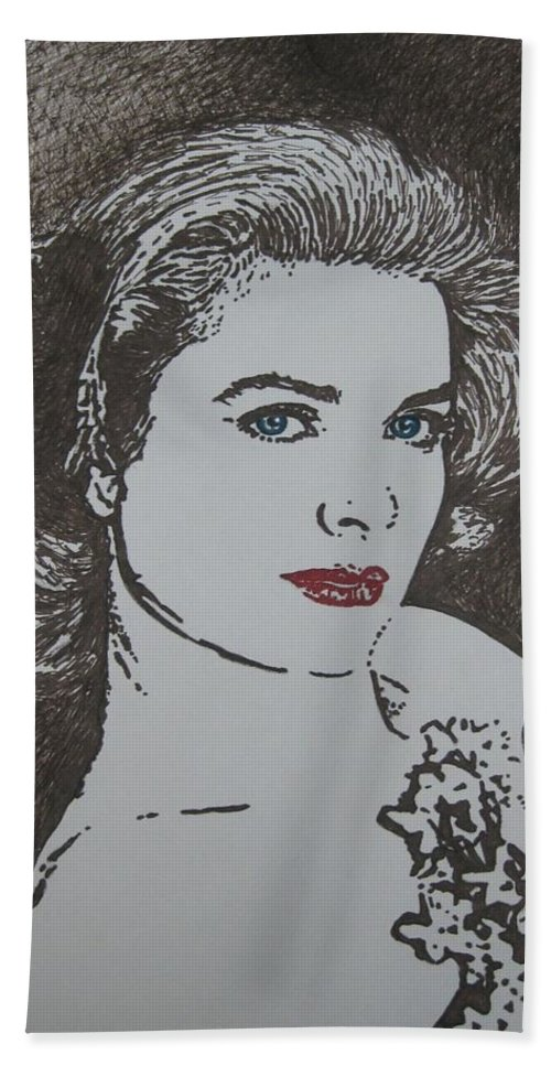 Grace Kelly Hand Towel featuring the drawing Grace by Lynet McDonald