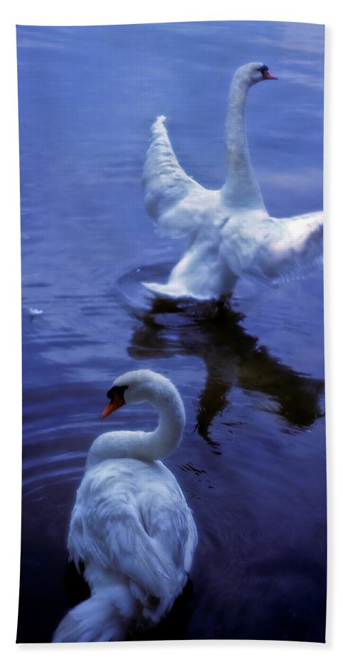 Swan Hand Towel featuring the photograph Graceful Swans by Marie Hicks