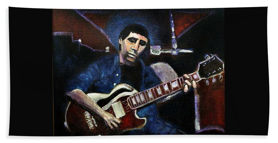 Shining Guitar Bath Sheet featuring the painting Graceland Tribute To Paul Simon by Seth Weaver