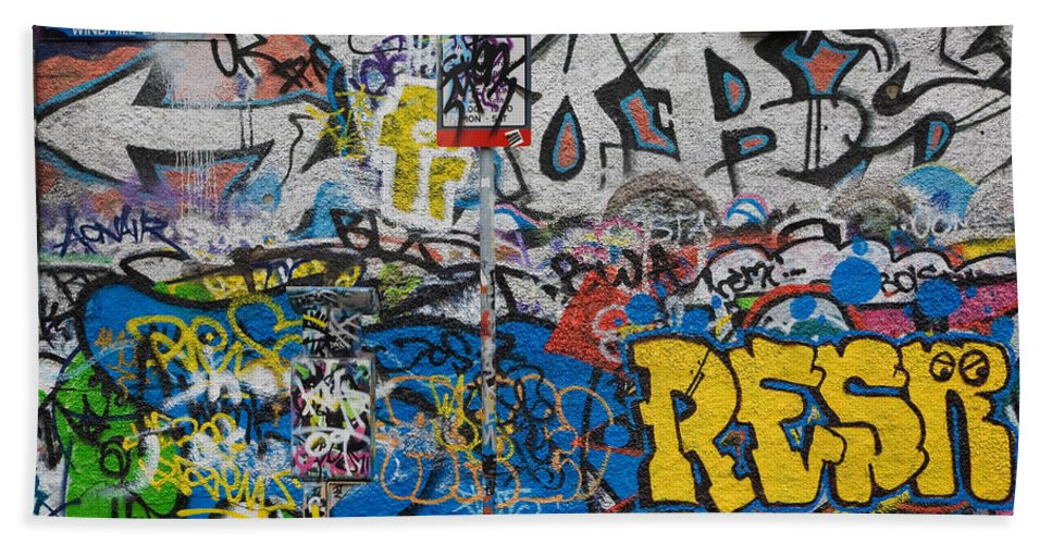 Photography Bath Sheet featuring the photograph Grafitti On The U2 Wall, Windmill Lane by Panoramic Images
