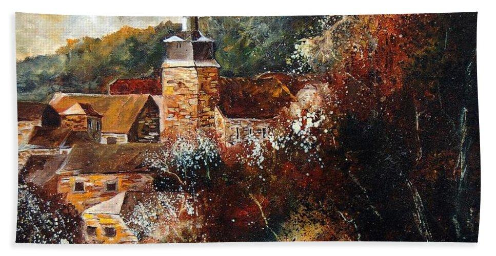 Village Bath Towel featuring the painting Graide Village Belgium by Pol Ledent