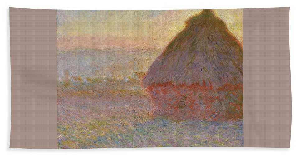 Claude Monet Hand Towel featuring the painting Grainstack, Sunset by Claude Monet