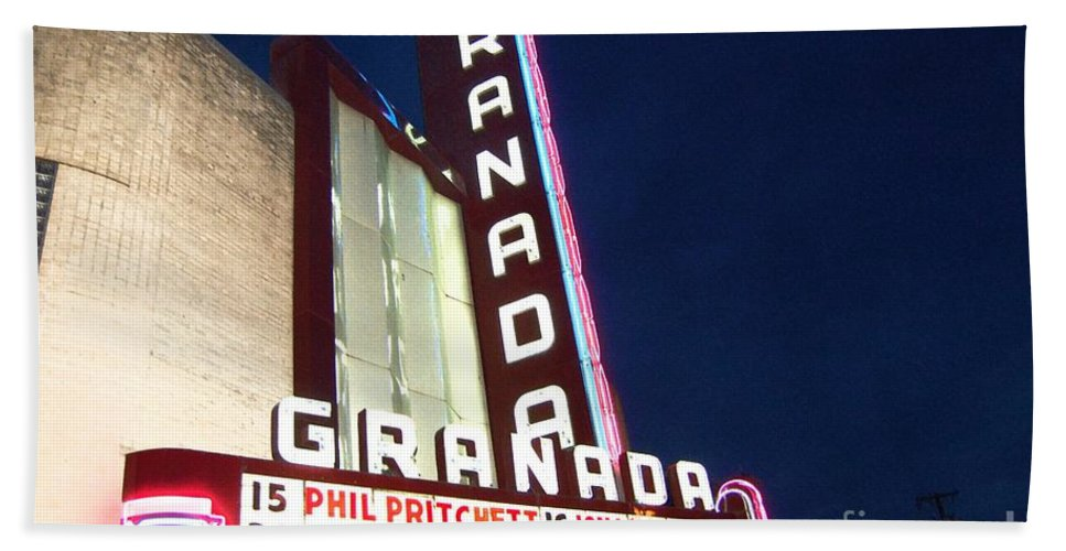 Music Bath Towel featuring the photograph Granada Theater by Debbi Granruth
