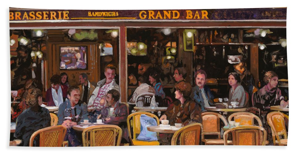 Brasserie Bath Sheet featuring the painting Grand Bar by Guido Borelli