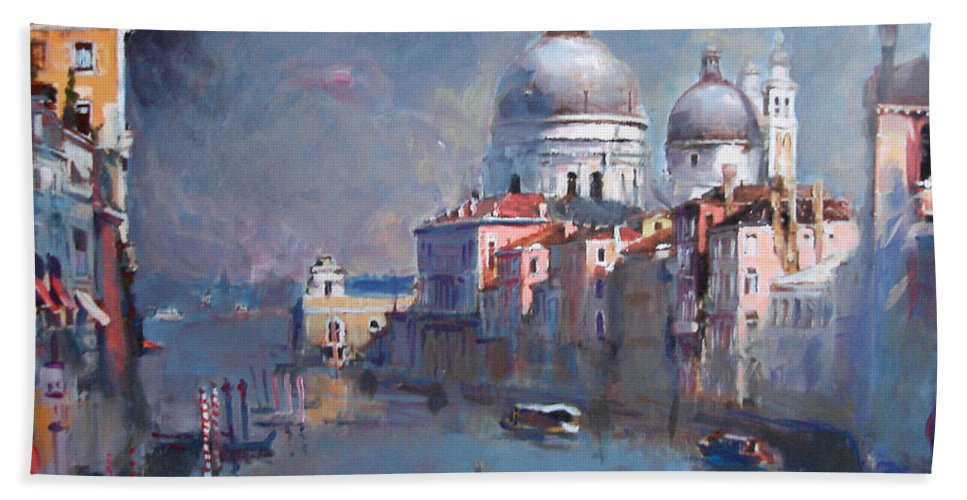 Landscape Bath Towel featuring the painting Grand Canal Venice by Ylli Haruni
