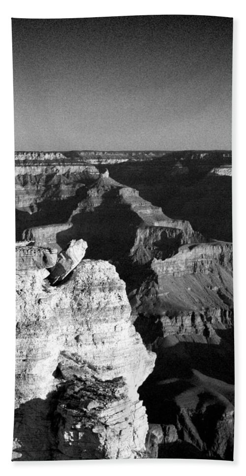 Grand Canyon Bath Sheet featuring the photograph Grand Canyon Black And White by Joshua House