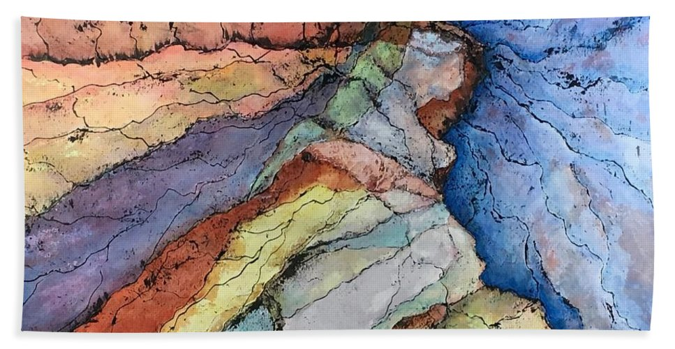 Abstract Landscape Hand Towel featuring the painting Grand Canyon by Lloyd Goodwin