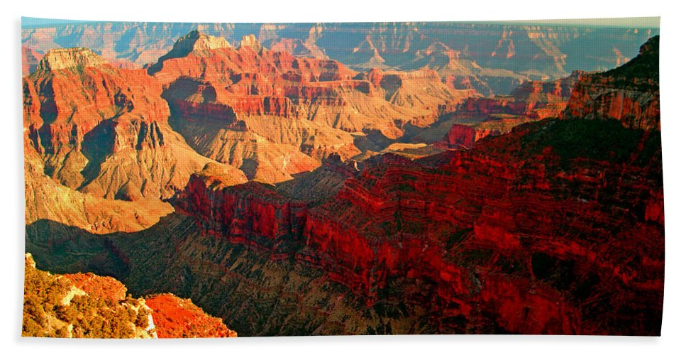 Landscape; Grand Canyon National Park Bath Sheet featuring the photograph Grand Canyon National Park Sunset On North Rim by Glenn W Smith