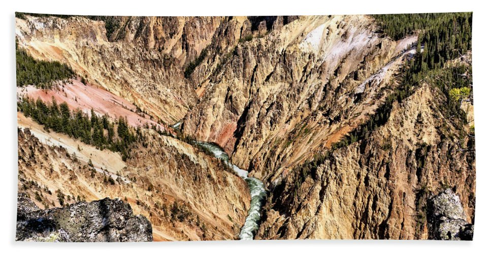 Canyon Hand Towel featuring the photograph Grand Canyon Of The Yellowstone 1 by John Trommer