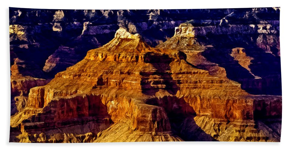 Grand Canyon Painting Hand Towel featuring the painting Grand Canyon Painting Sunset by Bob and Nadine Johnston