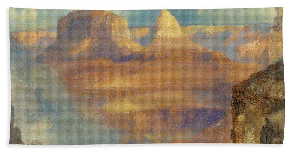 Thomas Moran Bath Towel featuring the painting Grand Canyon by Thomas Moran