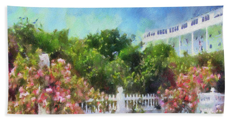 Grand Hotel Hand Towel featuring the painting Grand Hotel Gardens Mackinac Island Michigan by Betsy Foster Breen