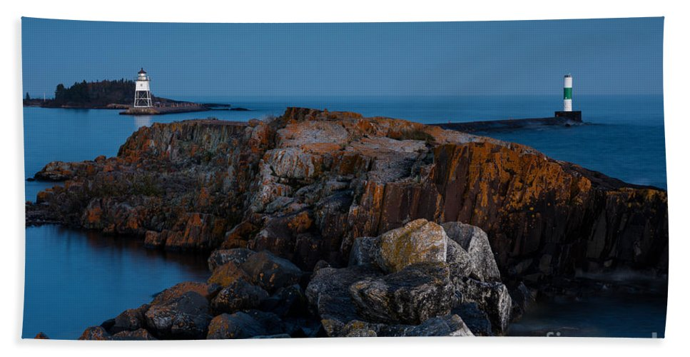America Hand Towel featuring the photograph Grand Marais Lighthouse by Joe Mamer