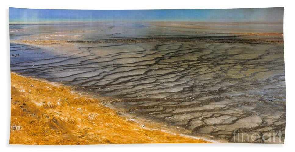Yellowstone Hand Towel featuring the photograph Grand Prismatic Runoff by Sandra Bronstein