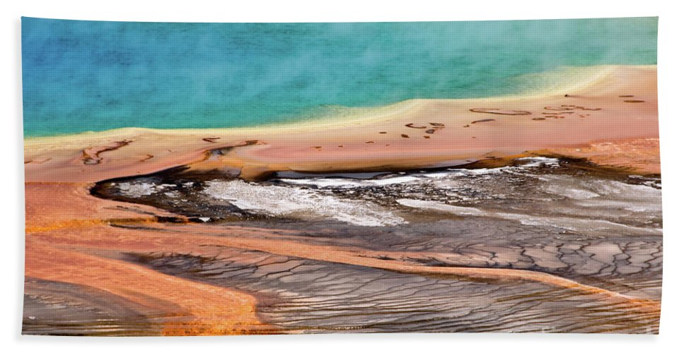 Grand Prismatic Spring Bath Sheet featuring the photograph Grand Prismatic Spring by Delphimages Photo Creations
