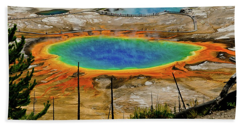 Grand Prismatic Spring Bath Towel featuring the photograph Grand Prismatic Spring by Greg Norrell