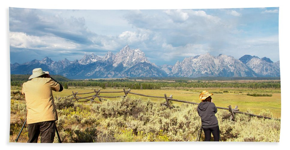 Photograpers Bath Sheet featuring the photograph Grand Teton Photograpers by Daryl L Hunter