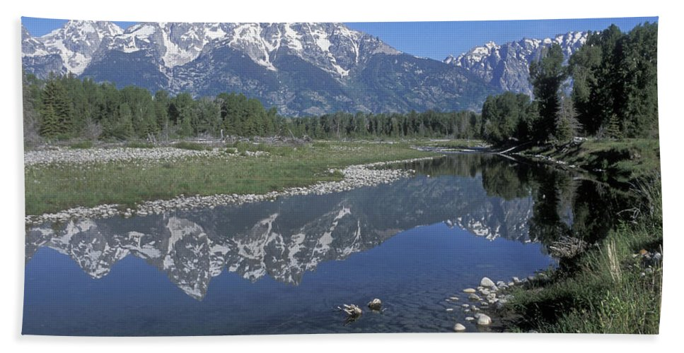 Grand Teton Hand Towel featuring the photograph Grand Teton Reflection At Schwabacher Landing by Sandra Bronstein