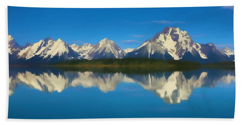 Grand Teton Reflection Wood Texture Bath Towel featuring the mixed media Grand Teton Reflection Wood Texture by Dan Sproul