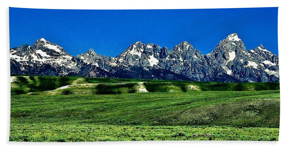 Nature Bath Towel featuring the photograph Grand Tetons by John K Sampson