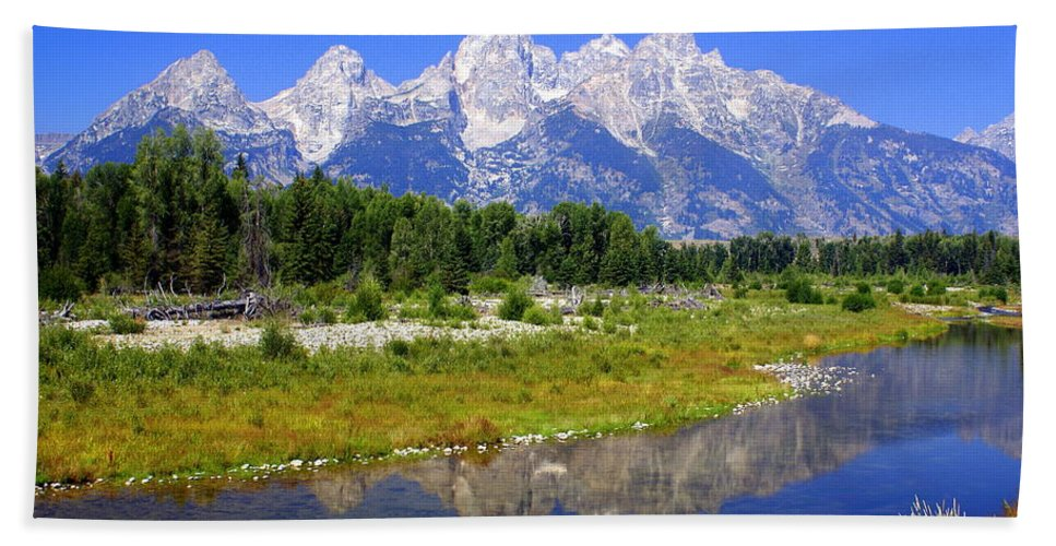 Grand Teton National Park Hand Towel featuring the photograph Grand Tetons by Marty Koch