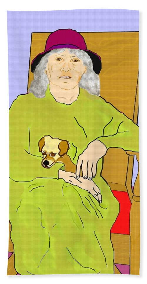 Grandmother Hand Towel featuring the painting Grandma And Puppy by Pharris Art