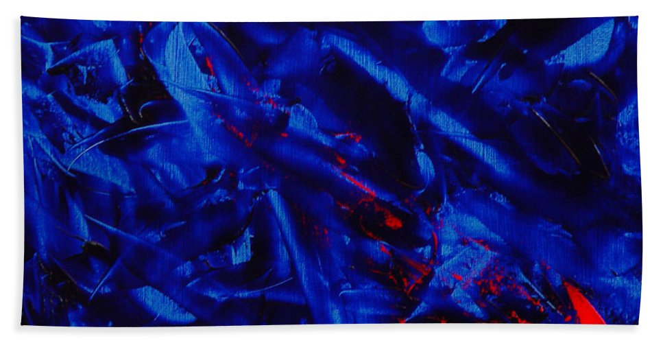 Abstract Hand Towel featuring the painting Grandma IIi by Dean Triolo