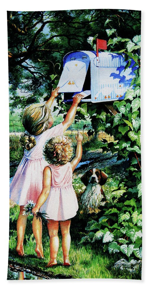 Mailbox Hand Towel featuring the painting Grandmas Letter by Hanne Lore Koehler