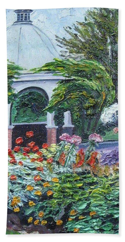 Garden Bath Sheet featuring the painting Grandmother's Garden Flowers by Richard Nowak