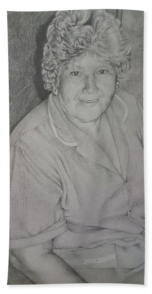 Portrait Hand Towel featuring the drawing Grandmother's Portrait by Carola Moreno