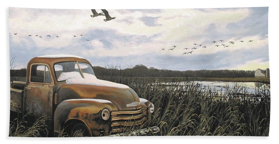 Truck Hand Towel featuring the painting Grandpa's Old Truck by Anthony J Padgett