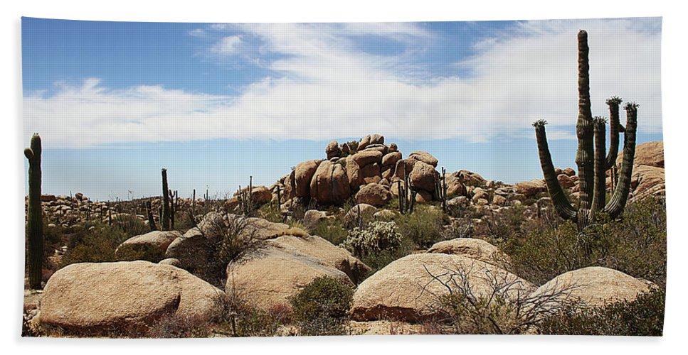 Granite Boulders And Saguaros Hand Towel featuring the photograph Granite Boulders And Saguaros by Tom Janca