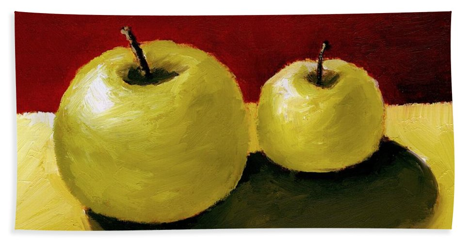 Apple Bath Towel featuring the painting Granny Smith Apples by Michelle Calkins