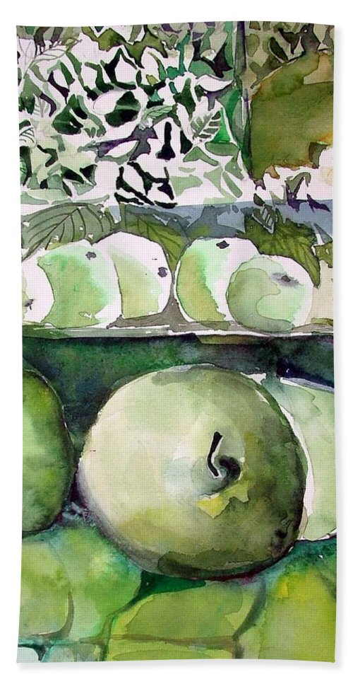 Apple Bath Towel featuring the painting Granny Smith Apples by Mindy Newman