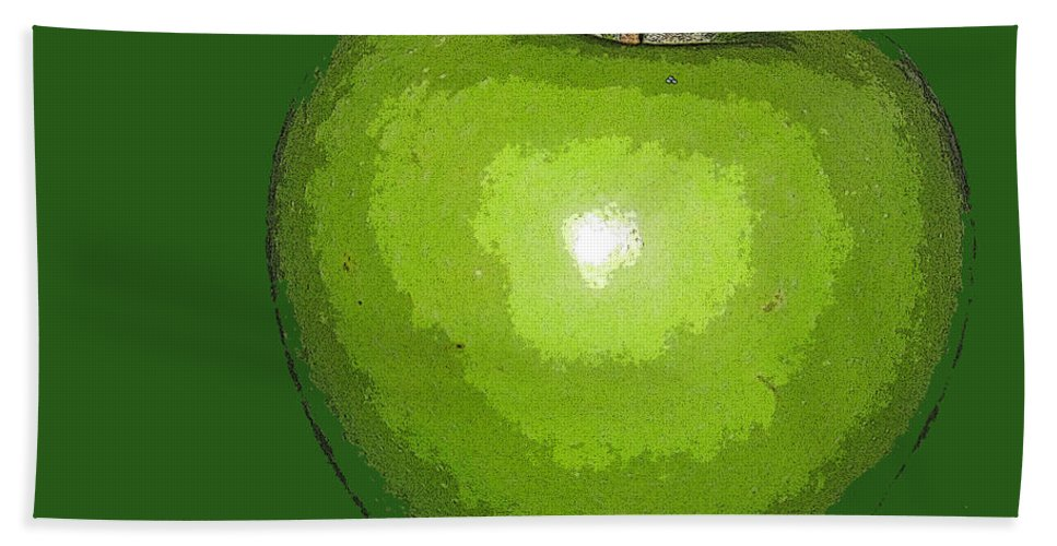 Apple Bath Sheet featuring the digital art Granny Smith by Ian MacDonald
