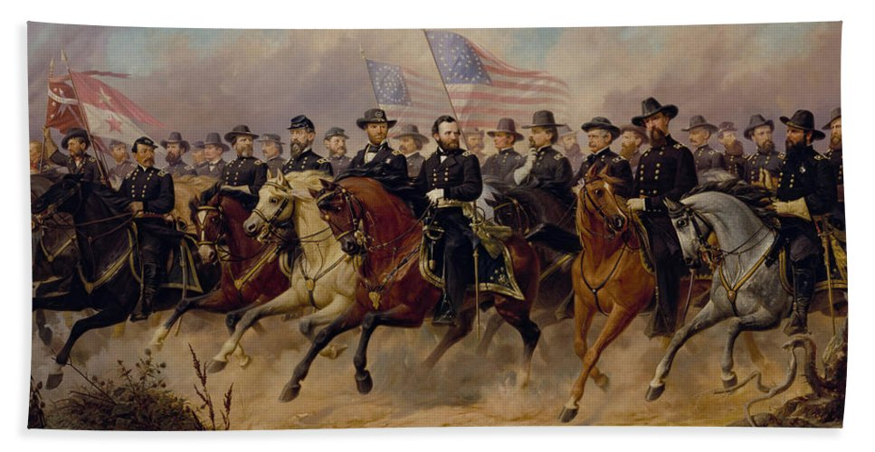 Grant Hand Towel featuring the painting Grant And His Generals by War Is Hell Store