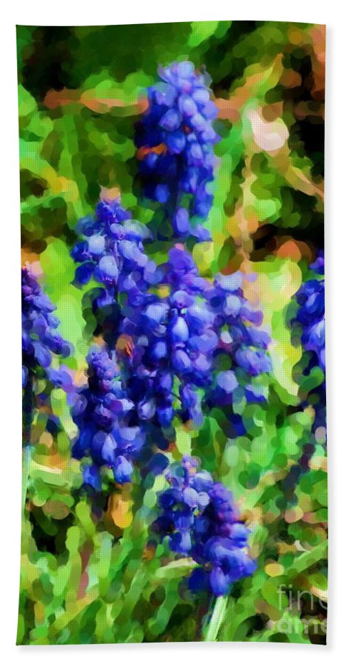 Grape Hyacinths Hand Towel featuring the photograph Grape Hyacinths by David Lane