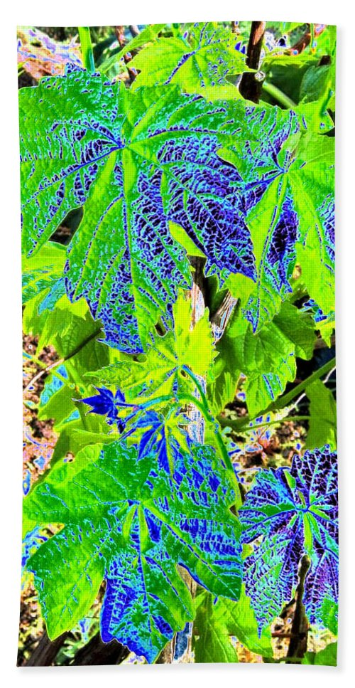 Grape Leaves Bath Towel featuring the digital art Grape Leaves by Will Borden