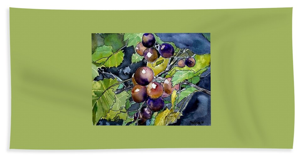 Grape Bath Sheet featuring the painting Grape Vine Still Life by Derek Mccrea