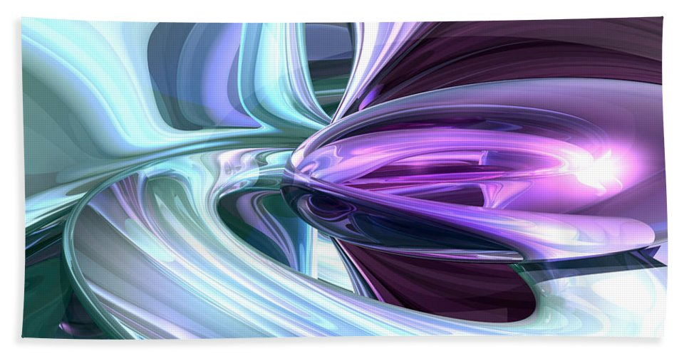 3d Hand Towel featuring the digital art Grapes And Cream Abstract by Alexander Butler