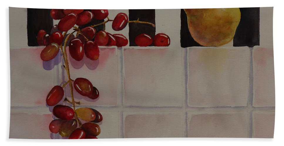 Fruit Hand Towel featuring the painting Grapes And Pear by Ruth Kamenev